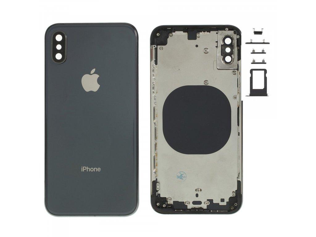 Apple iPhone XS zadní kryt baterie šedý včetně středového rámečku telefonu černý