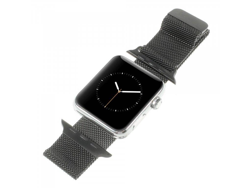 Apple Watch 38mm 40MM řemínek kovový Milanese Loop Milánský tah černý
