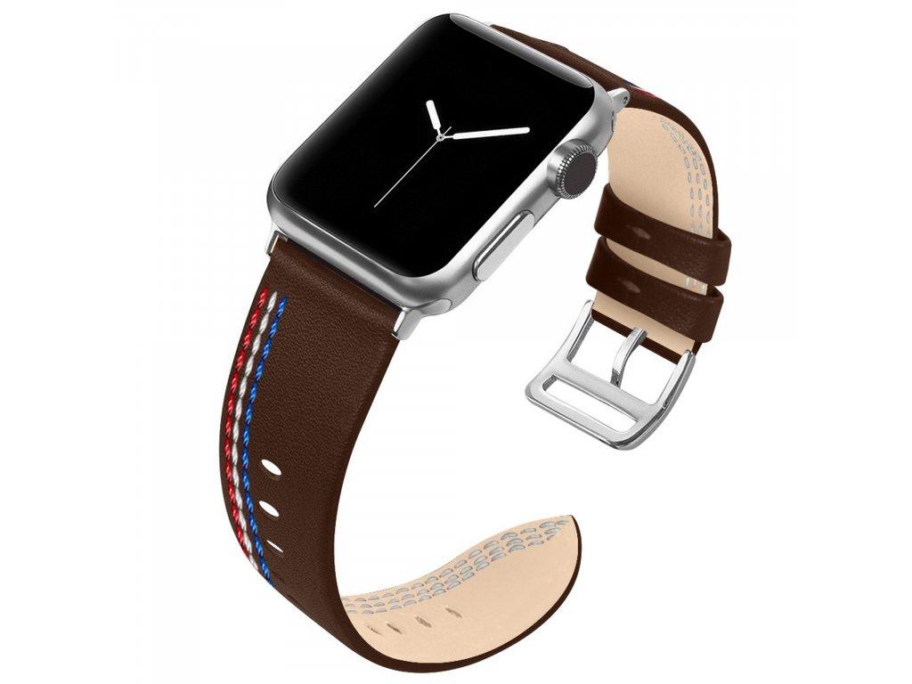Apple Watch 42/44mm kožený pásek řemínek čokoládově hnědý s prošíváním