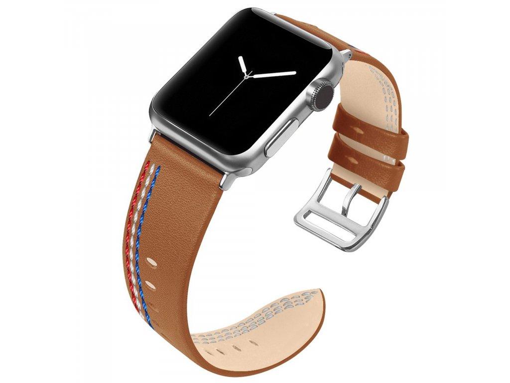 Apple Watch 42/44mm kožený pásek řemínek světle hnědá s prošíváním