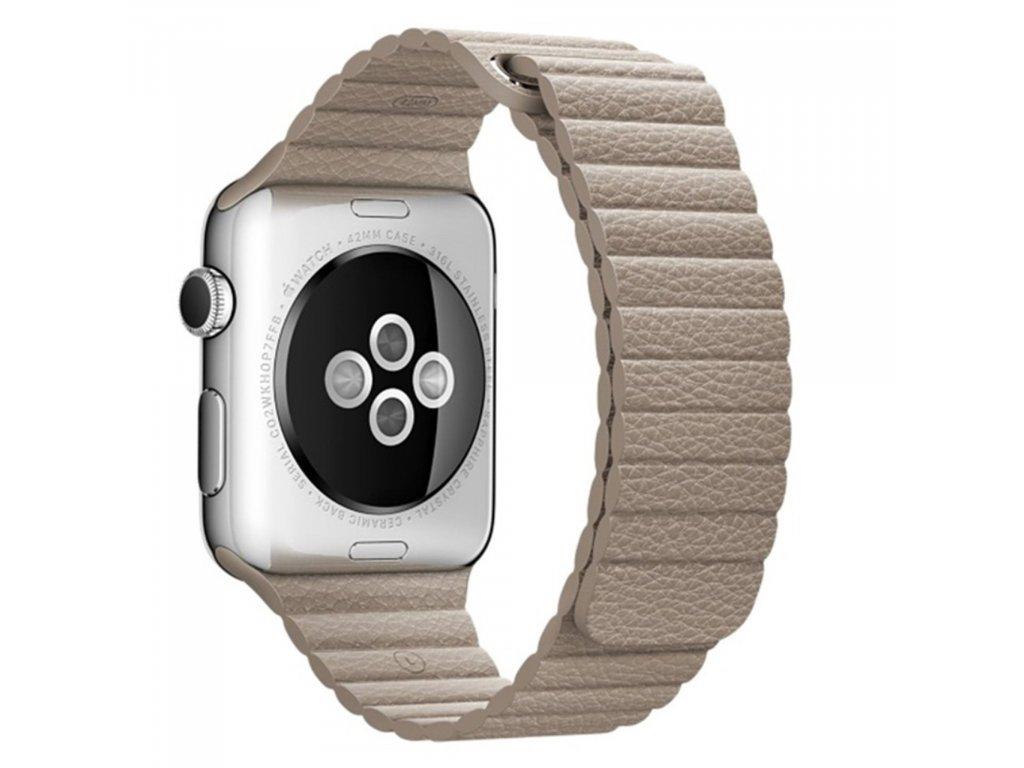 Apple Watch 42mm 44MM řemínek kožený provlékací béžový
