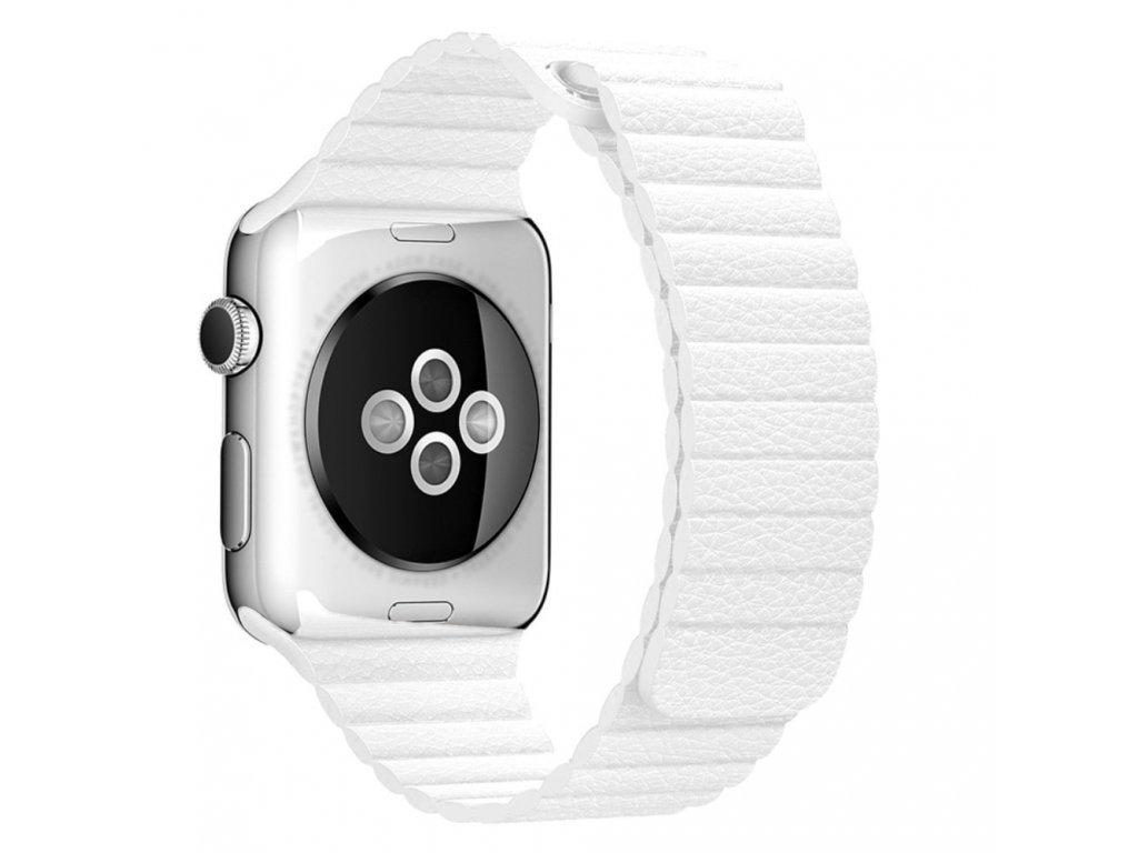 Apple Watch 42mm 44MM řemínek kožený provlékací bílý