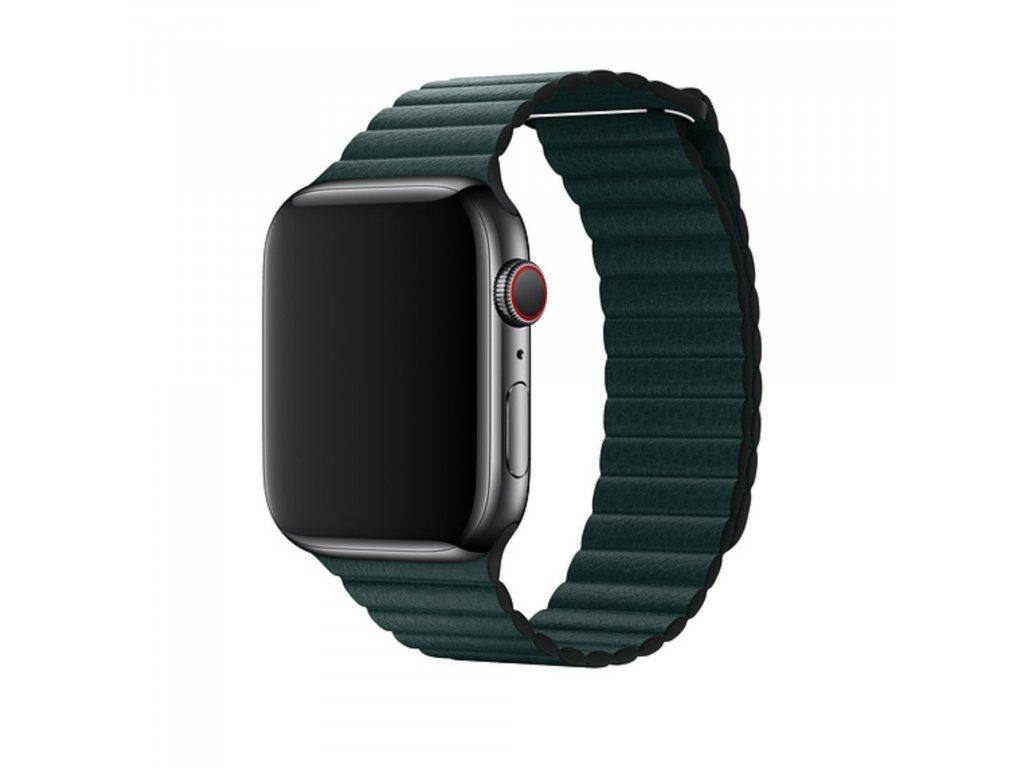 Apple Watch 42mm 44MM řemínek kožený provlékací zelený