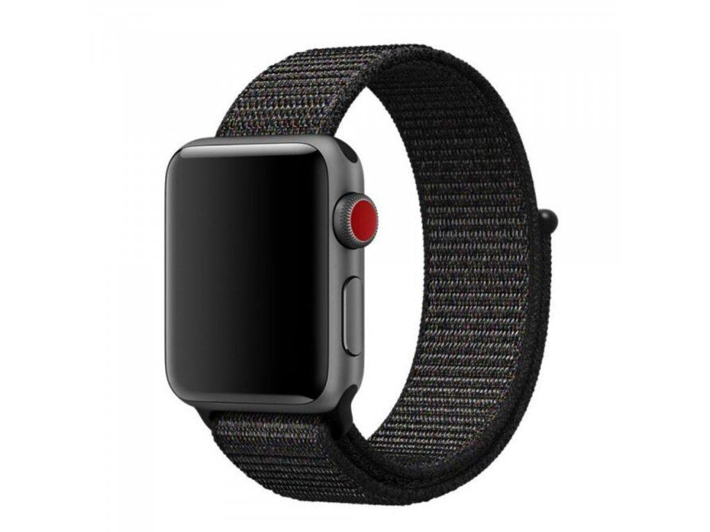 Apple Watch 42mm 44MM tkaný nylonový provlékací sportovní řemínek černý