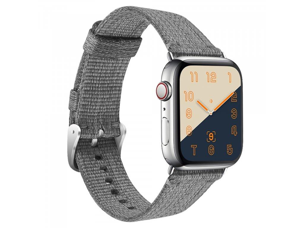 Apple Watch řemínek 38mm 40MM nylonový pásek šedý