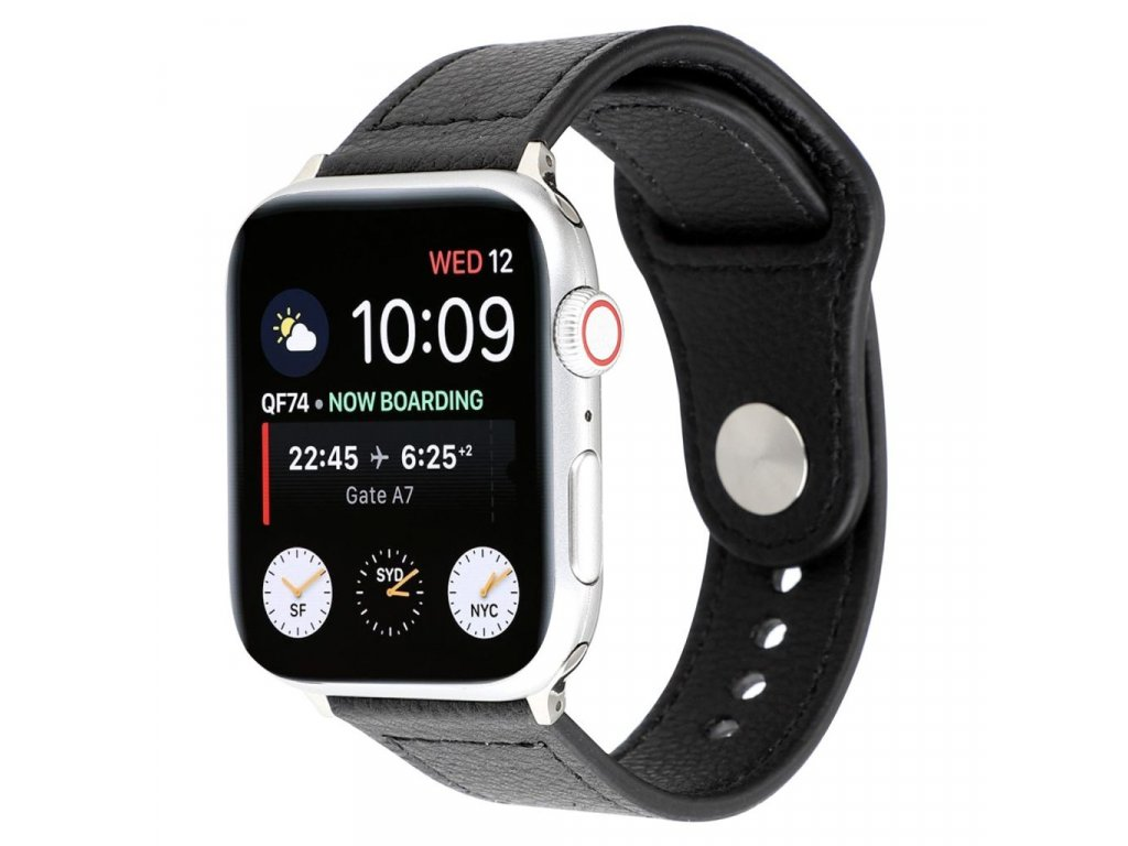 Apple Watch řemínek 42mm 44M kožený pásek černý
