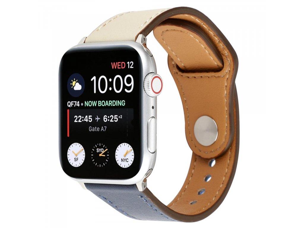 Apple Watch řemínek 42mm 44M kožený pásek modro bílý