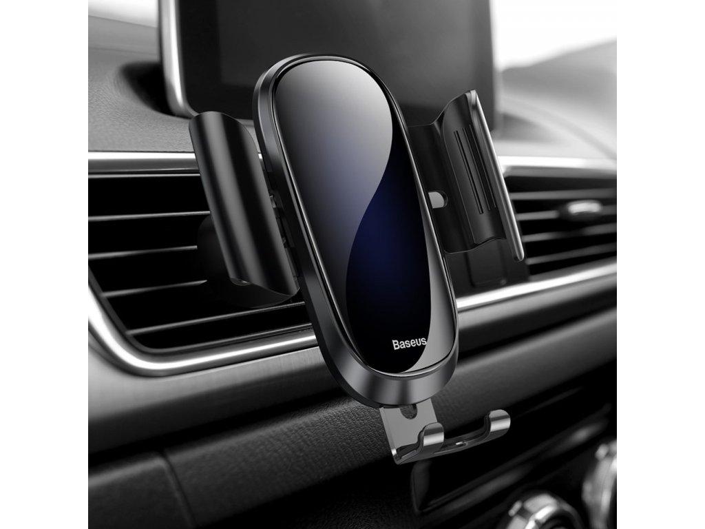 Baseus Držák telefonu do auta mezi mřížky ventilátoru černý kovové úchyty