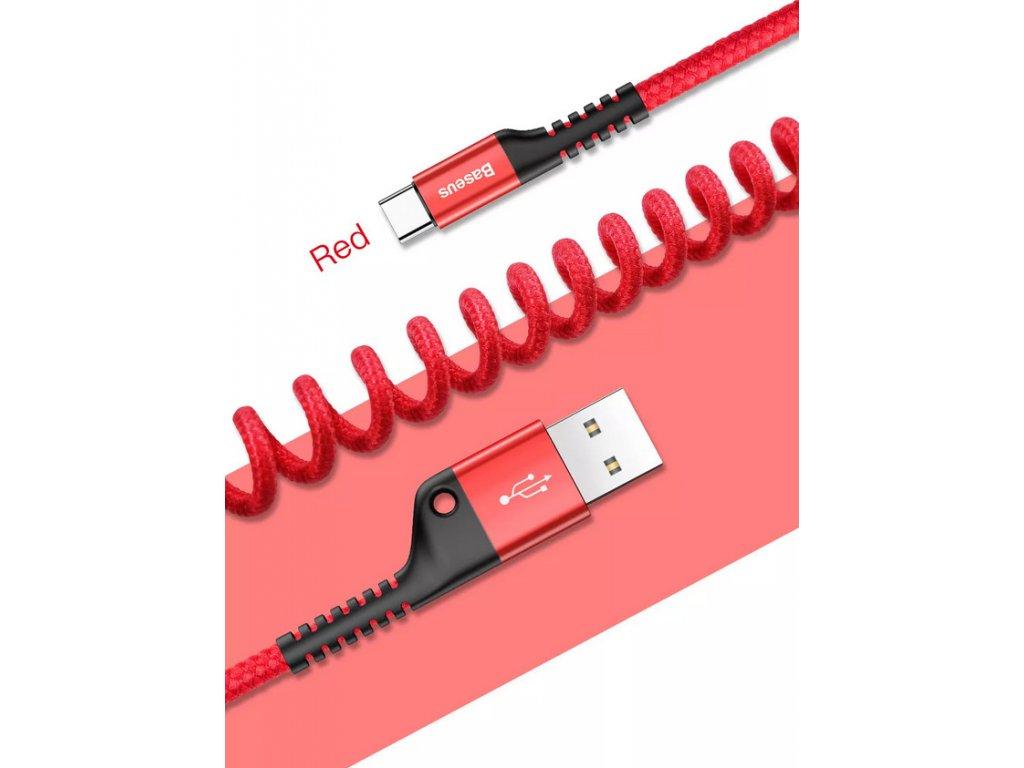 Baseus Fish Eye pružinový kabel Type-C červený