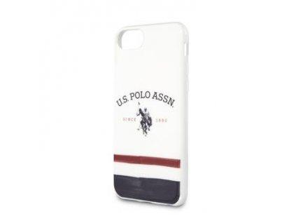 USHCI8PCSTRB U.S. Polo TPU Tricolore Kryt pro iPhone 8/SE2020 White
