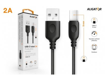 Datový kabel , USB-C, 2A, 1m, prodloužený konektor 9mm, černý
