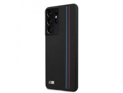 BMHCS21LSIVTBK BMW Tricolor Lines Silikonový Kryt pro Samsung Galaxy S21 Ultra Black