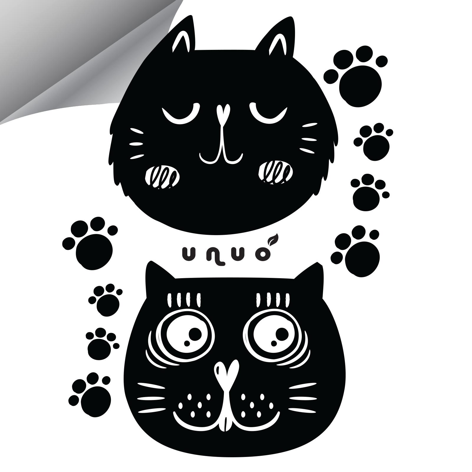 Unuo, Reflexní nažehlovací panel 9 x 13 cm, Kočky, XXL