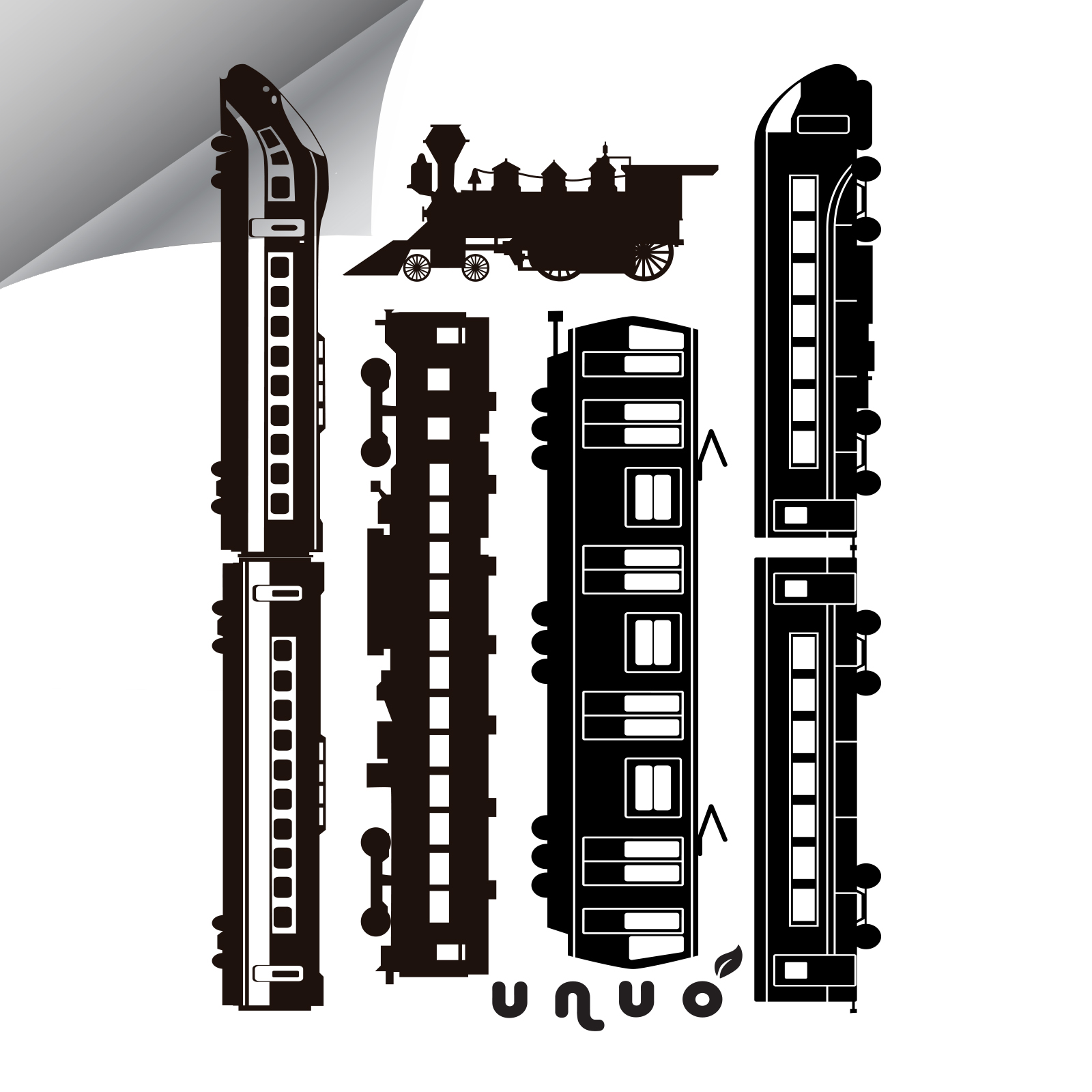 Unuo, Reflexní nažehlovací panel 9 x 13 cm, Vlaky, XXL