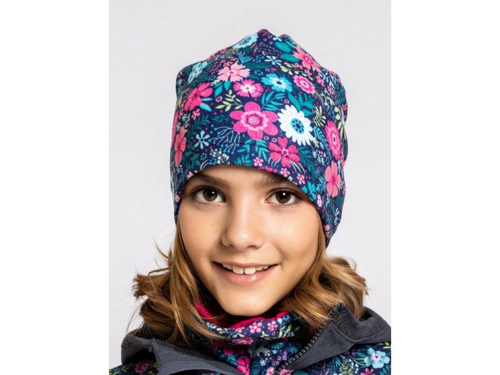 Unuo, Detská fleecová čiapka, Kvetinky