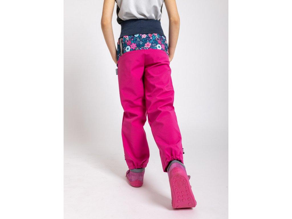 Unuo, Detské softshellové nohavice s fleecom, Fuchsiová, Kvetinky