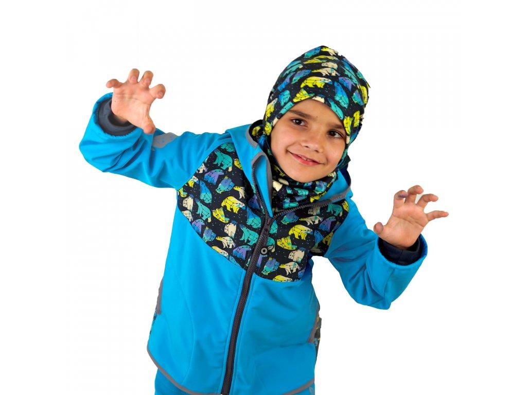 Unuo, Detská softshellová bunda s fleecom, Tyrkysová, Súhvezdie medveďa chlapec