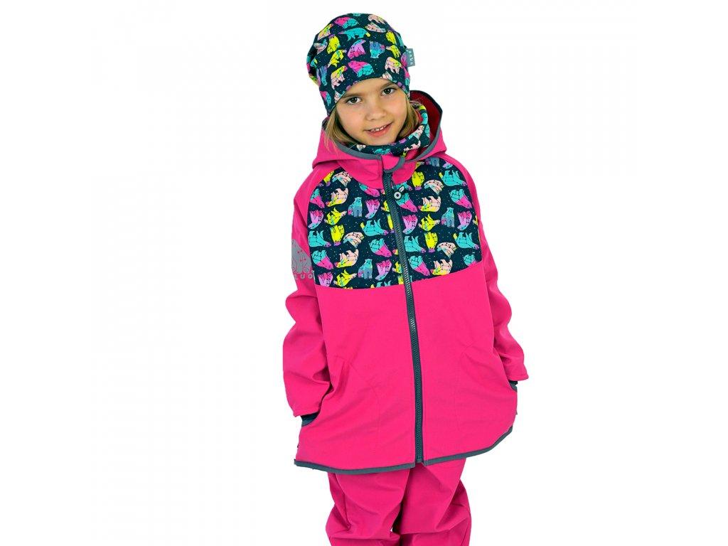 Unuo, Detská softshellová bunda s fleecom, Fuchsiová, Súhvezdie medveďa dievča