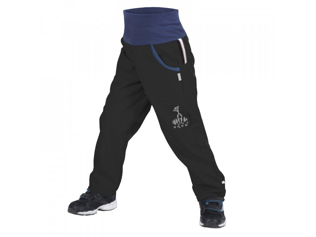 Unuo, Detské softshellové nohavice s fleecom, Čierna