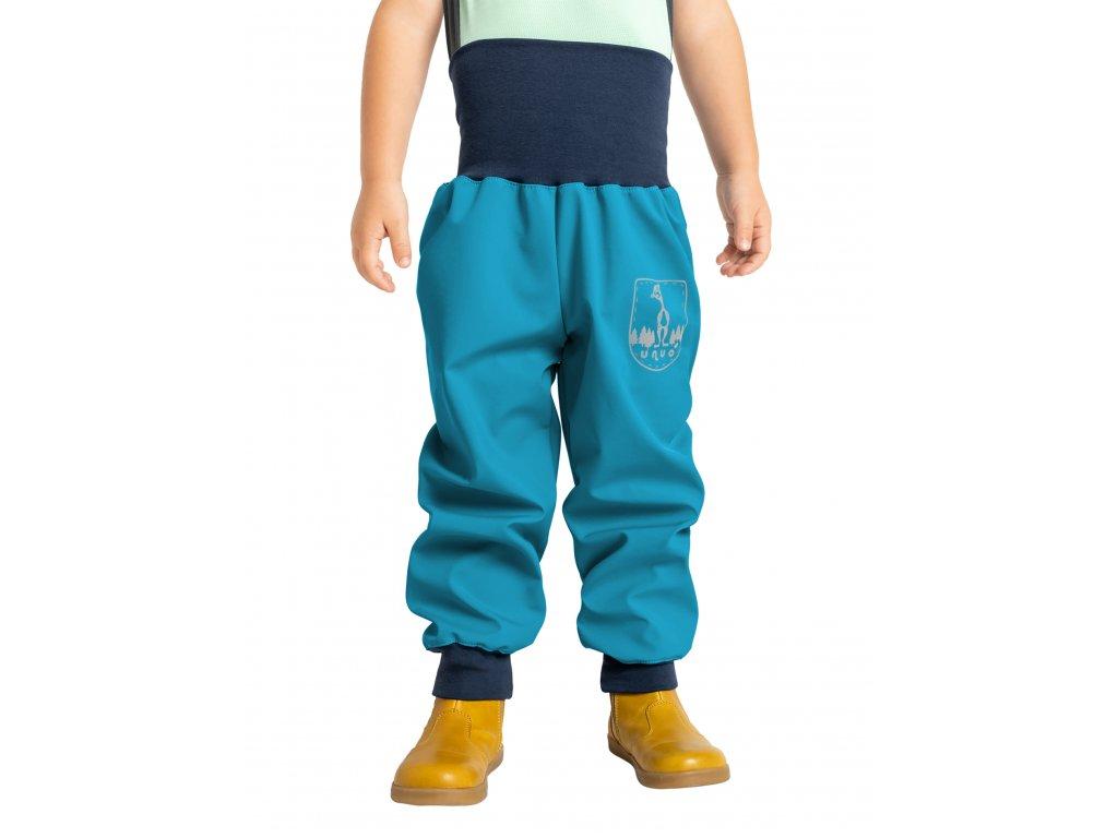 Unuo, Batoľacie softshellové nohavice bez zateplenia, Modrozelená Aqua