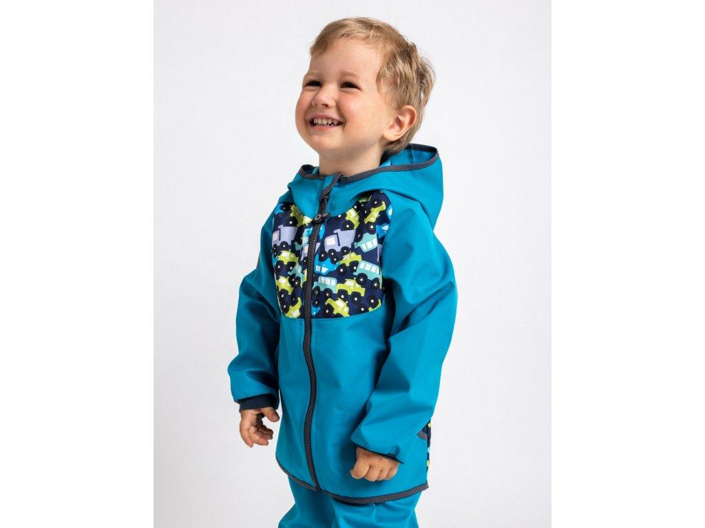 Unuo, Detská softshellová bunda bez zateplenia, Modrozelená Aqua, Autíčka