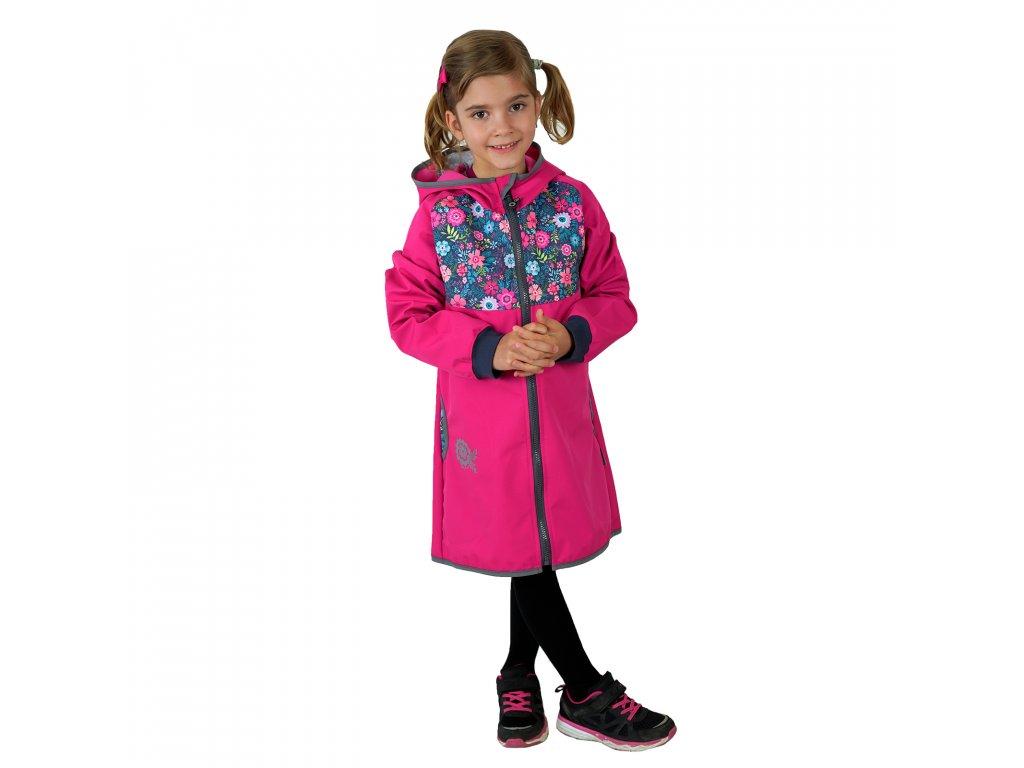 Unuo, Detský softshellový kabátik bez zateplenia, Fuchsiová, Kvetinky