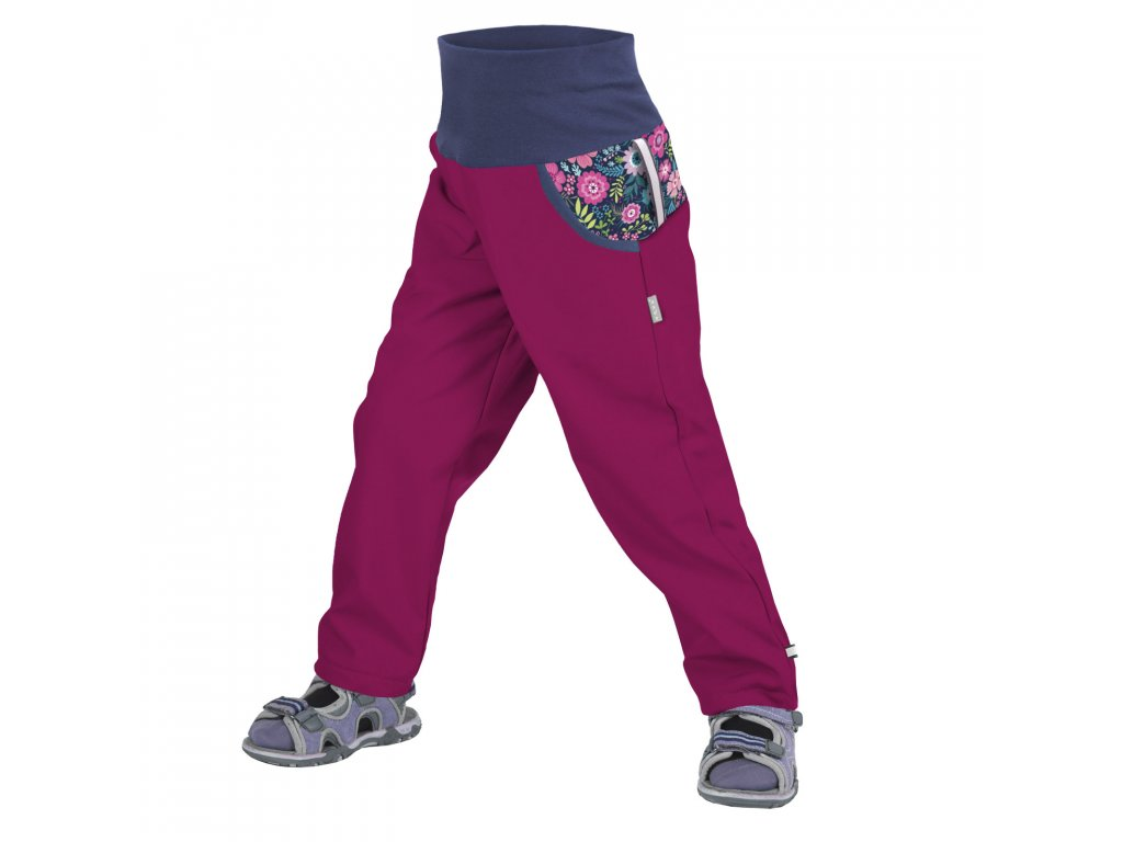 Unuo, Detské softshellové nohavice bez zateplenia, Tm. Ružová Malinová, Kvetinky