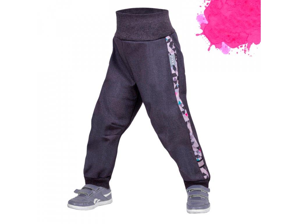 Unuo, Batoľacie softshellové nohavice s fleecom Street, Žíhaná Antracitová, Metricon dievča