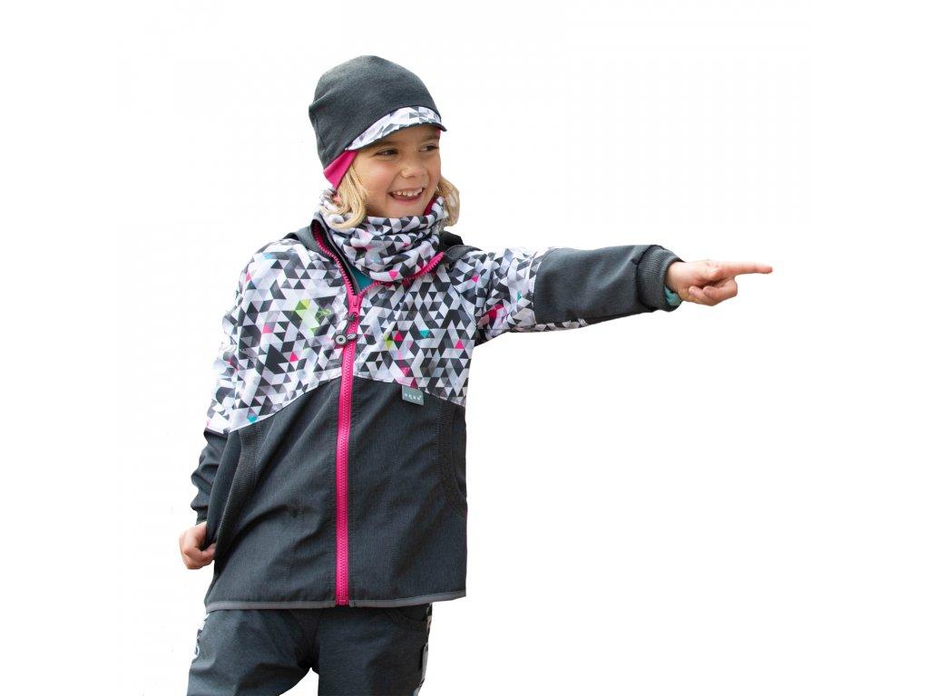 Unuo, Detská softshellová bunda s fleecom Street, Žíhaná Antracitová, Metricon dievča
