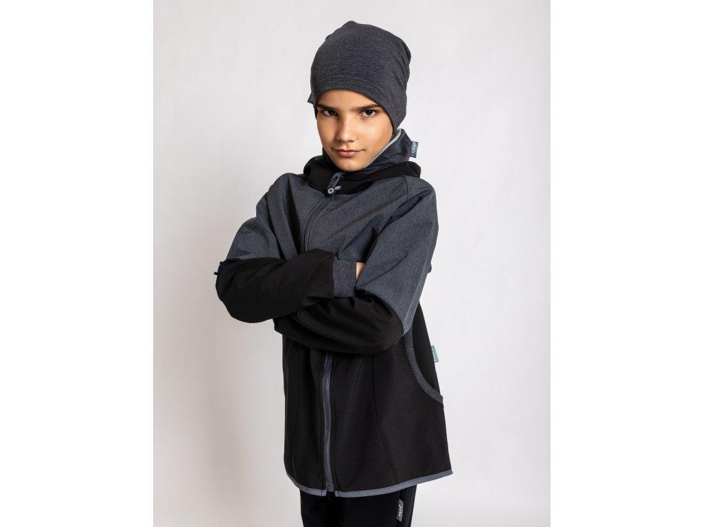 Unuo, Detská softshellová bunda s fleecom Street, Žíhaná Antracitová