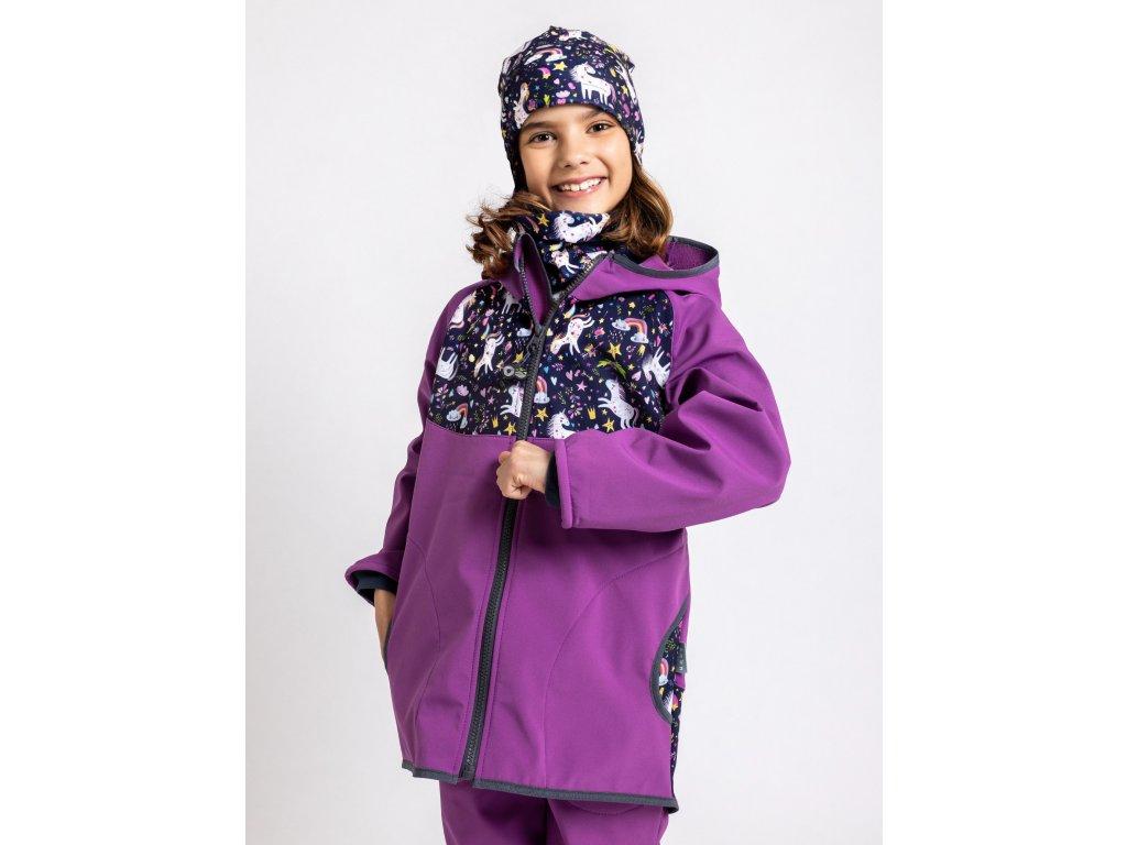 Unuo, Detská softshellová bunda s fleecom, Černicová, Jednorožce