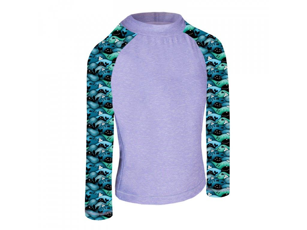 Unuo, Detské funkčné triko dl. rukáv so stojačikom UV 50+, Žíhaná Holubičie Sivá, Veľryby chlapec
