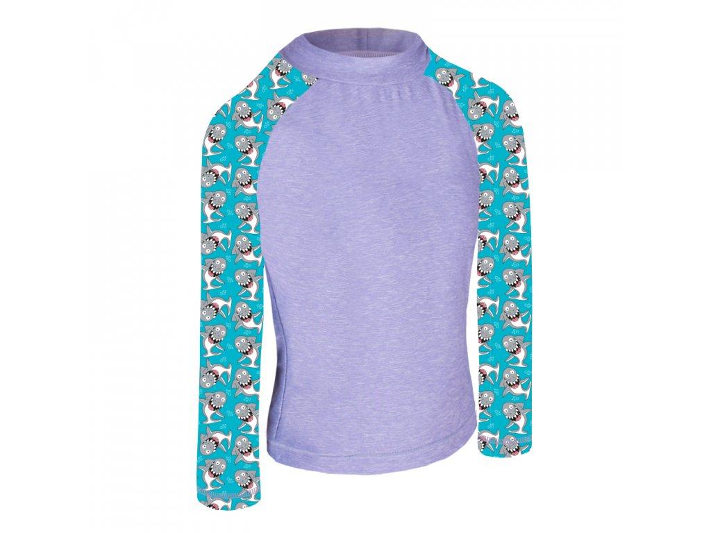 Unuo, Detské funkčné triko dl. rukáv so stojačikom UV 50+, Žíhaná Holubičie Sivá, Žraloky
