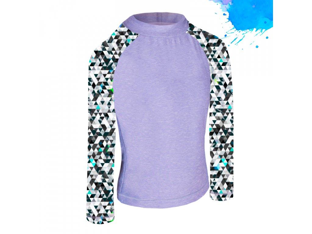 Unuo, Detské funkčné triko dl. rukáv so stojačikom UV 50+, Žíhaná Holubičie Sivá, Metricon chlapec