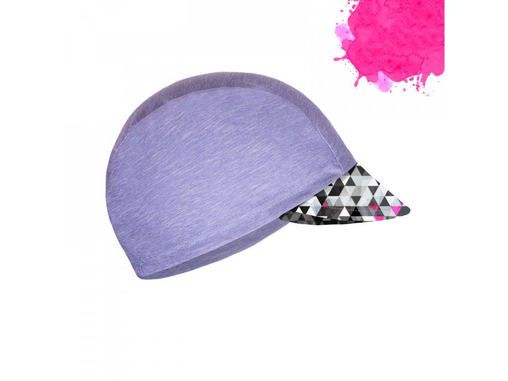 Unuo, Detská funkčná čiapka s šiltom UV 50+, Žíhaná Holubičie Sivá, Metricon dievča