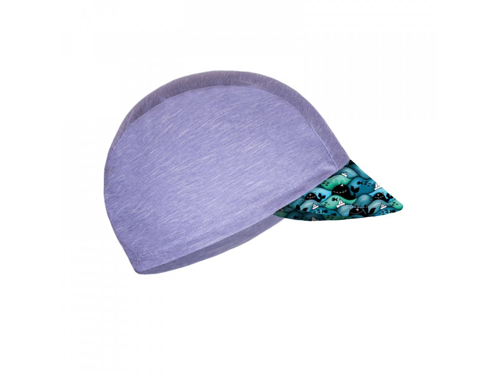 Unuo, Detská funkčná čiapka s šiltom UV 50+, Žíhaná Holubičie Sivá, Veľryby chlapec