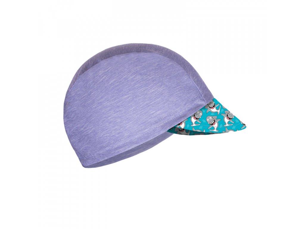 Unuo, Detská funkčná čiapka s šiltom UV 50+, Žíhaná Holubičie Sivá, Žraloky