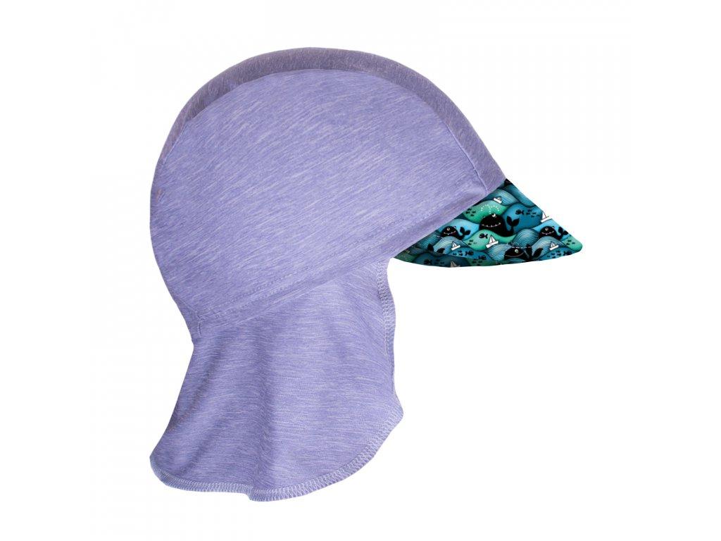 Unuo, Detská funkčná čiapka s šiltom a plachietkou UV 50+, Žíhaná Holubičie Sivá, Veľryby chlapec