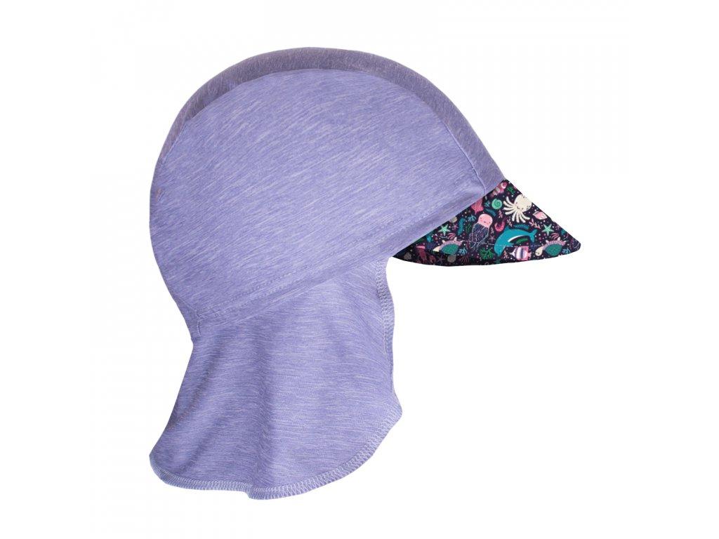 Unuo, Detská funkčná čiapka s šiltom a plachietkou UV 50+, Žíhaná Holubičie Sivá, Morský svet