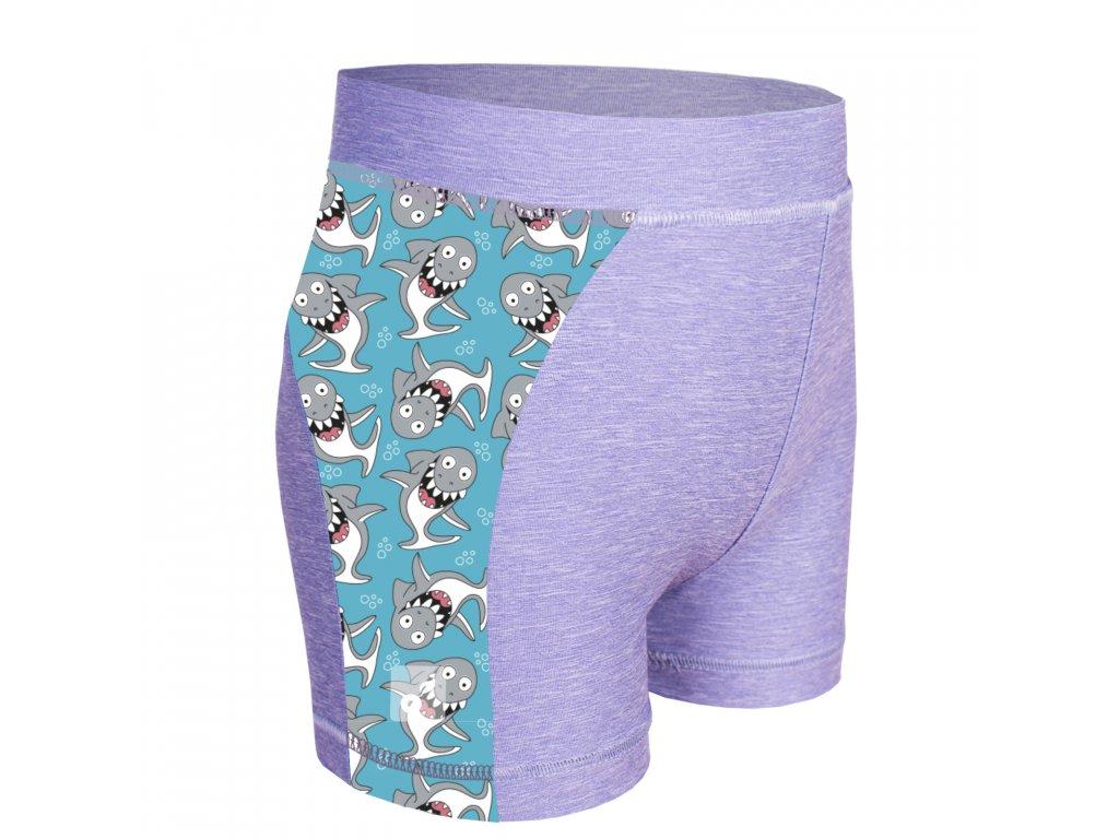Unuo, Detské funkčné šortky UV 50+, Žíhaná Holubičie Sivá, Žraloky