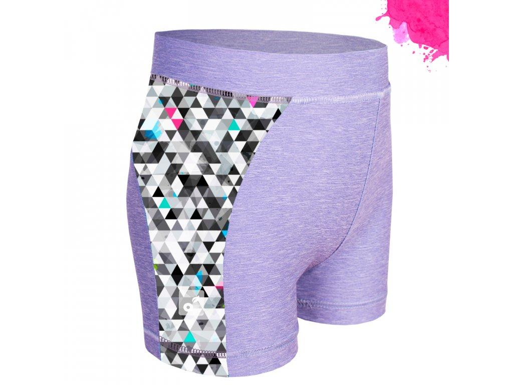 Unuo, Detské funkčné šortky UV 50+, Žíhaná Holubičie Sivá, Metricon dievča