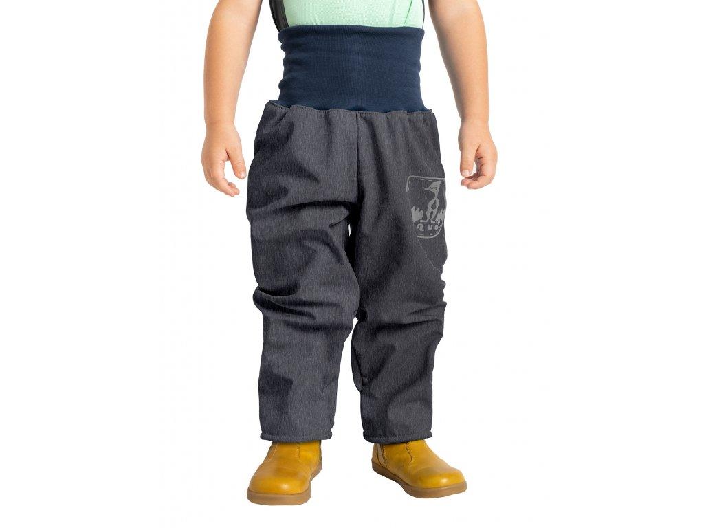 Unuo, Batoľacie softshellové nohavice s fleecom, Žíhaná Antracitová