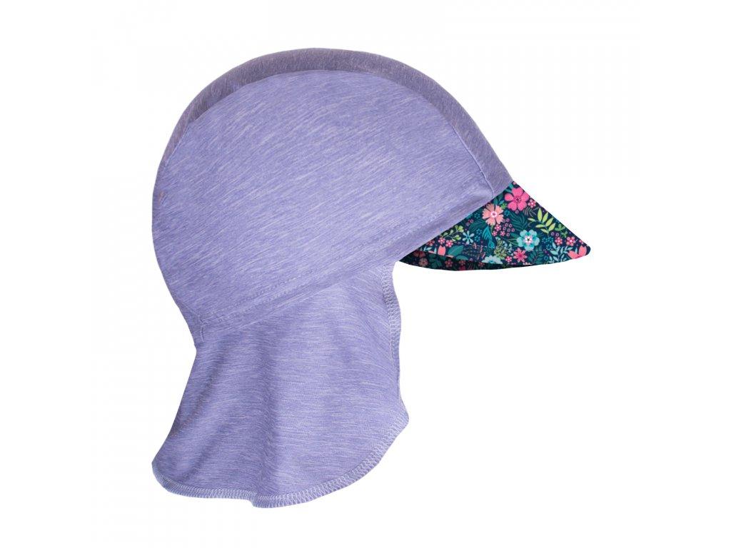 Unuo, Detská funkčná čiapka s šiltom a plachietkou UV 50+, Žíhaná Holubičie Sivá, Kvetinky