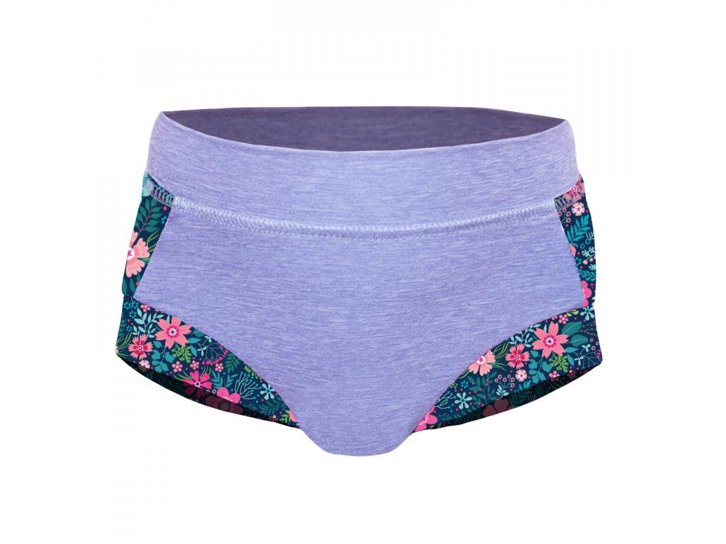 Unuo, Dievčenské funkčné plavky UV 50+, Žíhaná Holubičie Sivá, Kvetinky