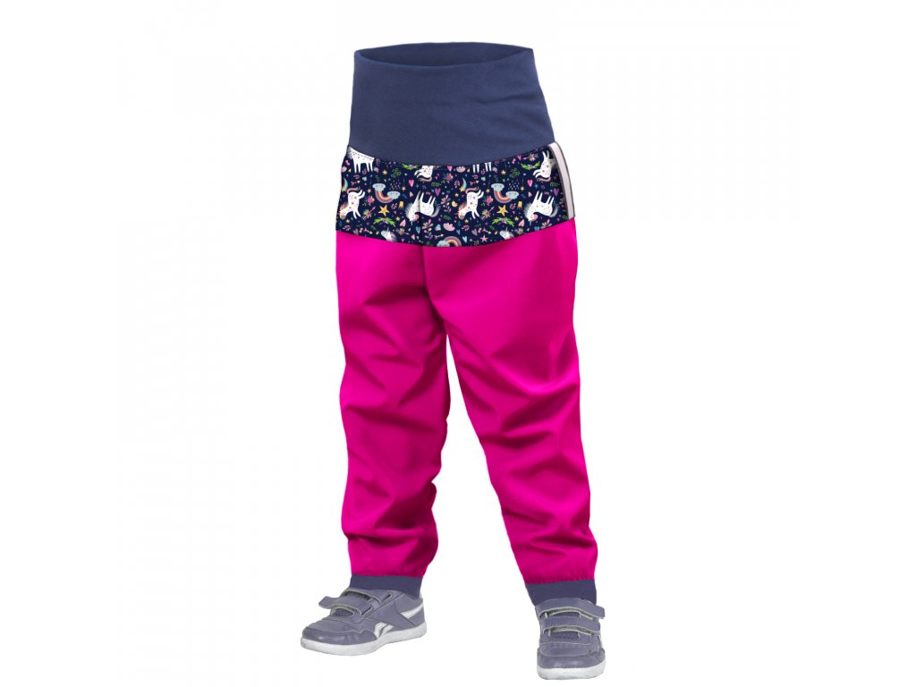 Unuo, Batoľacie softshellové nohavice bez zateplenia, Fuchsiová, Jednorožce