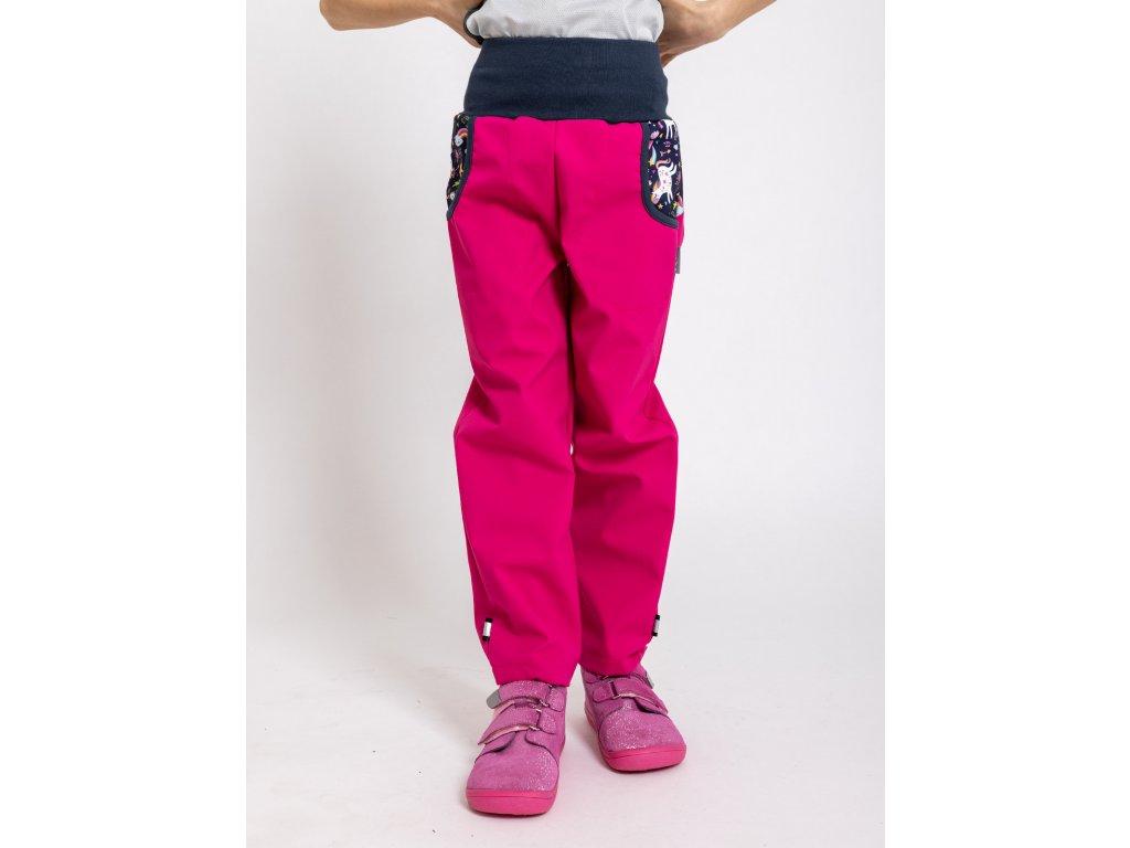 Unuo, Detské softshellové nohavice bez zateplenia, Fuchsiová, Jednorožce