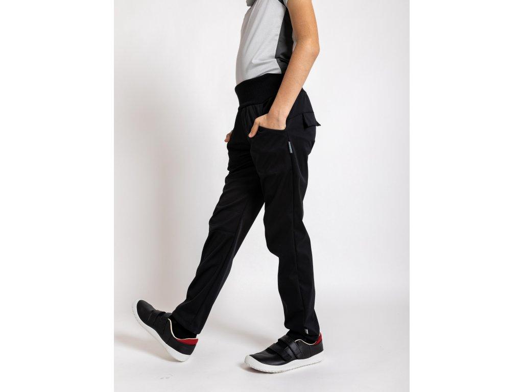 Unuo, Detské softshellové nohavice bez zateplenia pružné Cool, Čierna