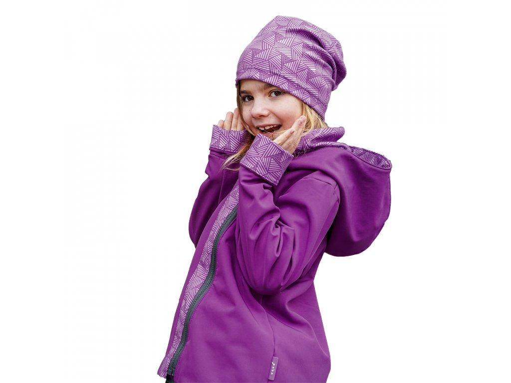 Unuo, Detská softshellová bunda s fleecom Cross, Černicová, Sharp dievča
