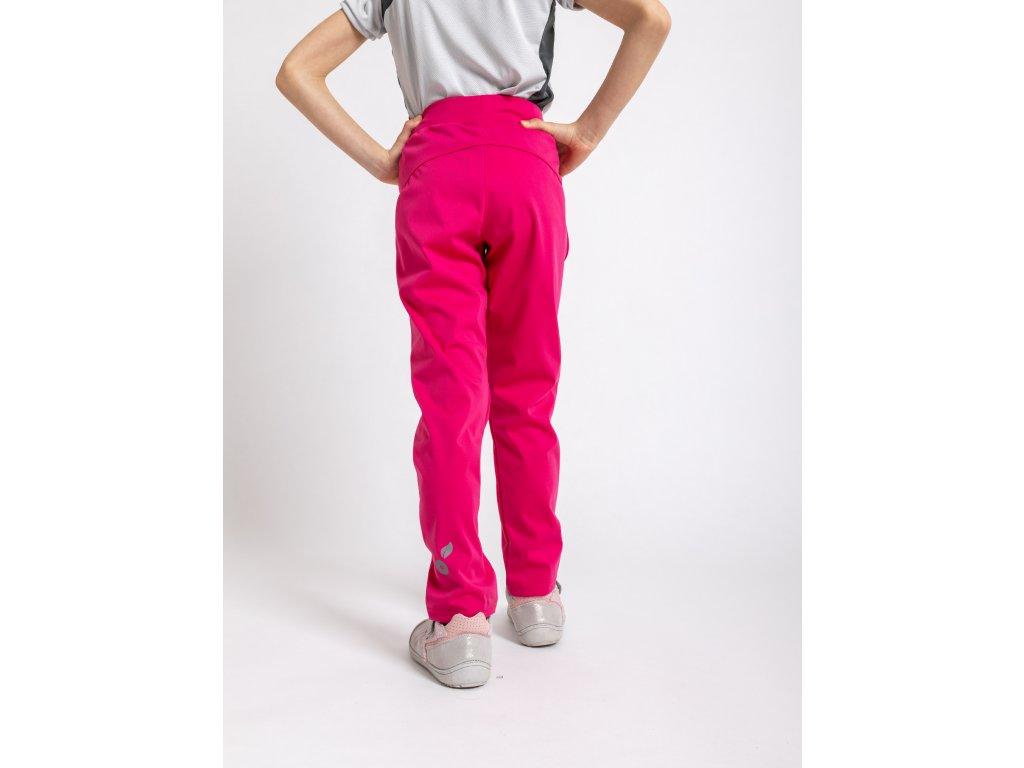 Unuo, Detské softshellové nohavice bez zateplenia pružné Sporty, Fuchsiová