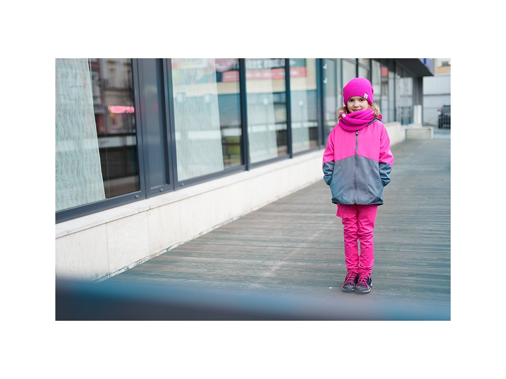 Unuo, Detská softshellová bunda s bambusovým úpletom Street, Sivá, Fuchsiová